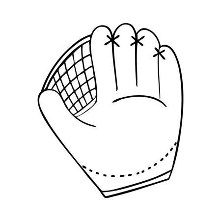Black and white vector illustration of baseball glove