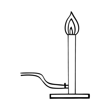 black and white vector illustration of plugin candle Ilustracja