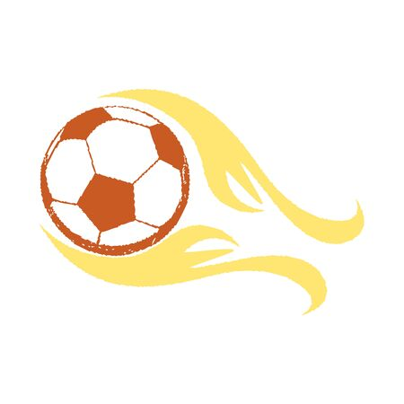 flaming soccer ball illustration with white backdrop