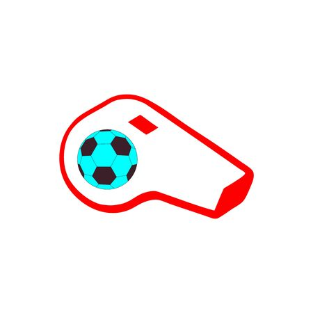 Red referee whistle with a blue soccer logo