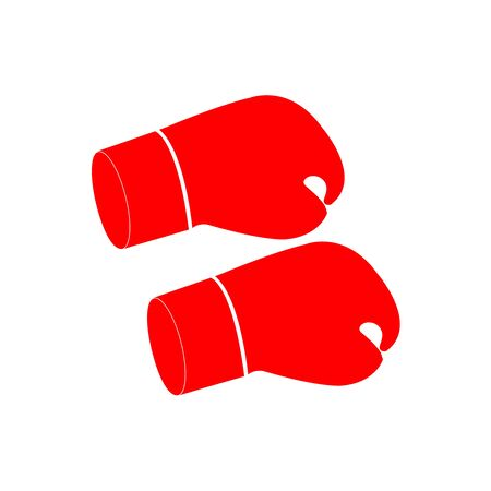 Red boxing gloves without hands on white