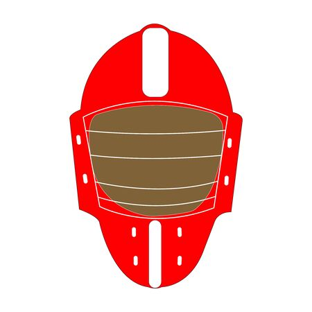 Dark red and brown umpire mask on white