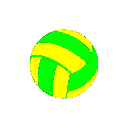neon green and yellow volleyball ball on white Иллюстрация