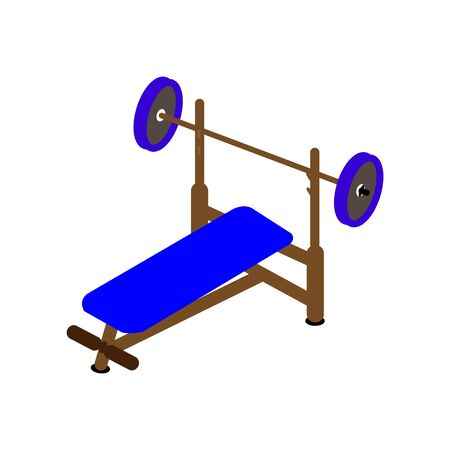 Dark blue and brown bench presser on white