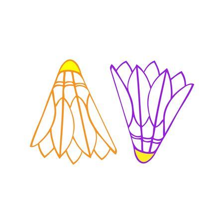 A pair of an orange and a purple badminton birdie