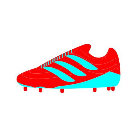 Red and bright blue soccer shoes on white