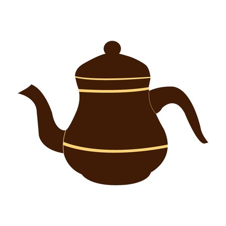 Dark brown tea pot on white backdrop 矢量图像