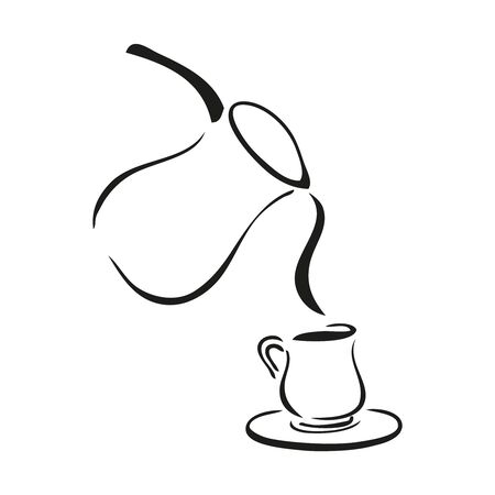 Black and white tea pot pouring into a cup