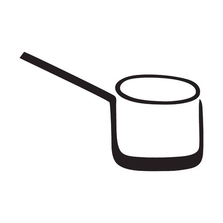 Black and white long handled cooking pot Illustration