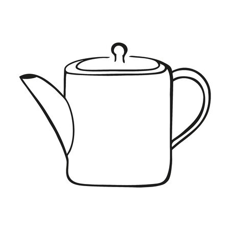 Black and white simple vector illustration of a tea pot Ilustrace