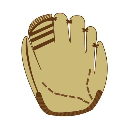 Brownish white realistic baseball glove with marks and stitches