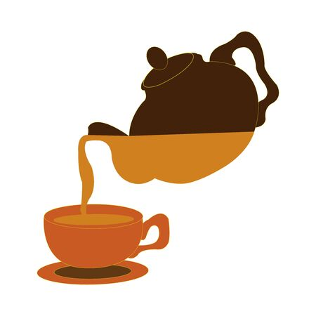 Dark brown teapot pouring into a clay coloured cup  イラスト・ベクター素材
