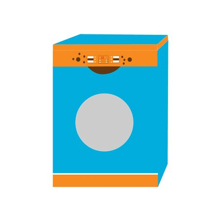 A blue and orange washing machine on white