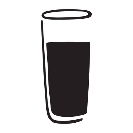 Vector of glass with cold drink and straw
