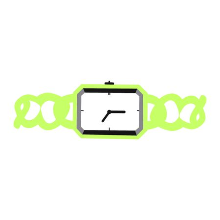 A vector illustration of a wrist watch with a fancy green band Standard-Bild - 133625890