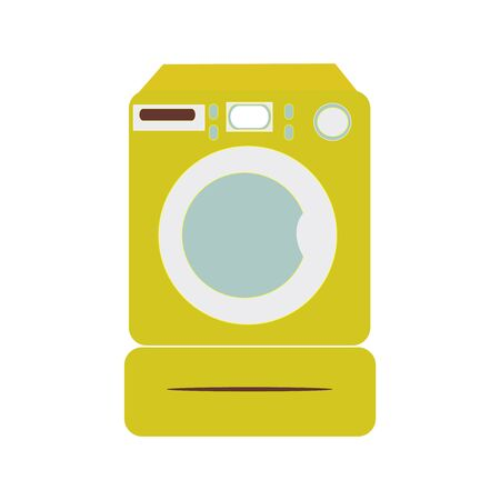 A vector illustration of a yellow washing machine on white