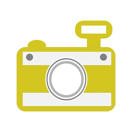A Yellow Hand Held Camera On White