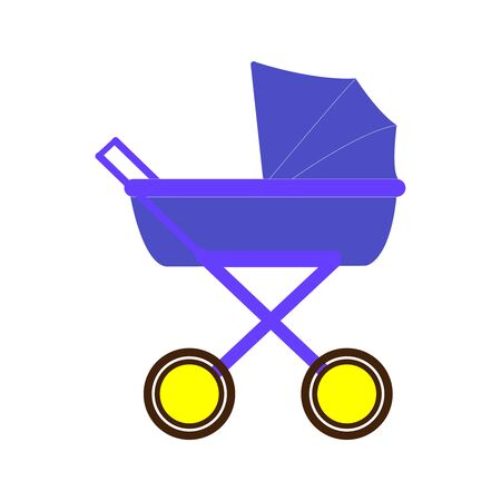 A vintage style well drawn purple and yellow baby stroller 向量圖像