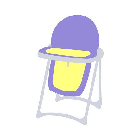 A purple and yellow cutely drawn babies chair Ilustração