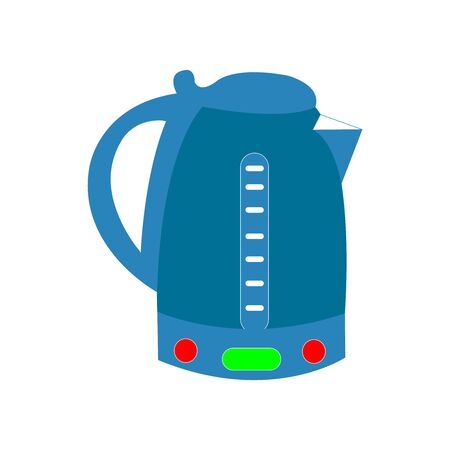 Yale Blue Electric Kettle on a white backdrop Ilustrace