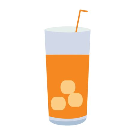 A Vector Illustration of a Glass With a Drink a Straw and Ice