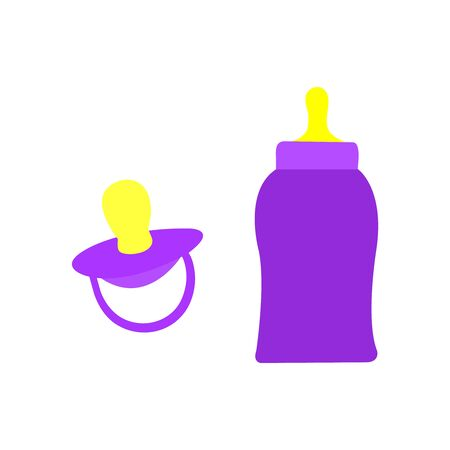A set of a purple babies pacifier and bottle