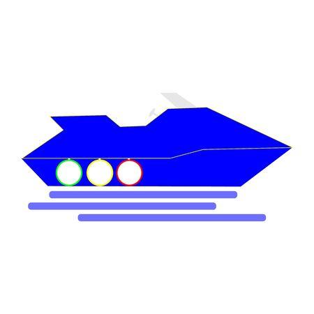A Dark Blue Simply Drawn Snowmobile On White Illustration
