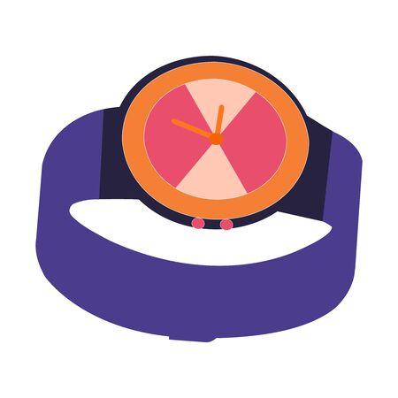 A Beautifully Drawn Purple And Orange Wrist Watch Illusztráció