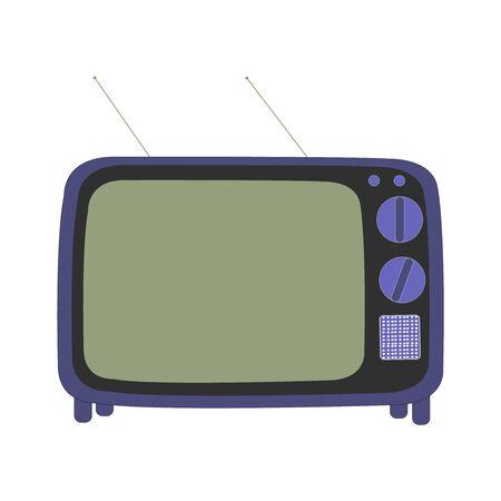 A Dark Blue And Black Retro TV