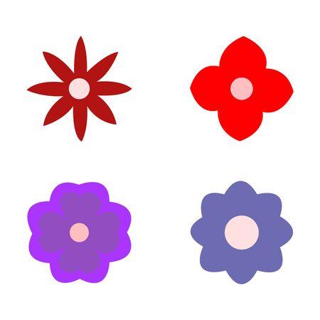 A set of four beautiful flowers on white Illusztráció
