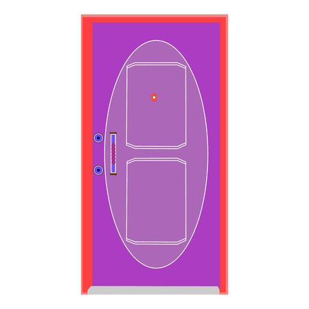 A Futuristically Drawn Red and Purple Wooden Door On White