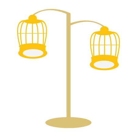 Two Golden Bird Cages Connected To a Pole