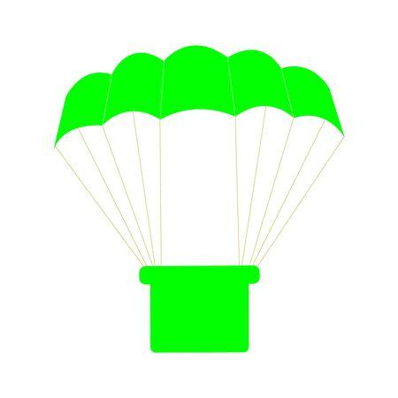A Cutely Drawn Green Parachute On White