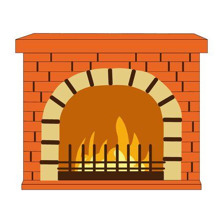 A Beautifully Drawn Brick Fire Place on White