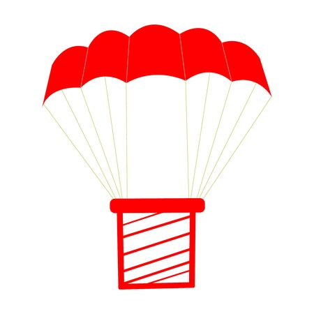 A Cutely Drawn Red Parachute On White With A Package Illusztráció
