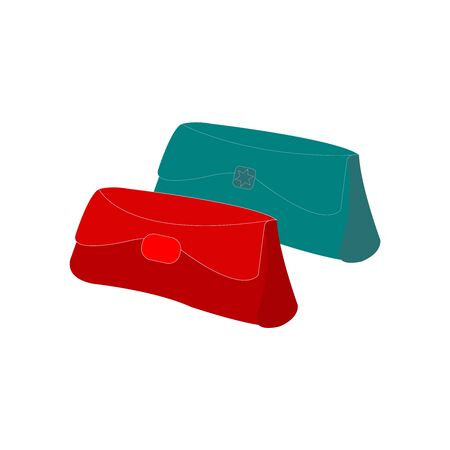 A Dark Red and Turquoise Womens Wallet on White