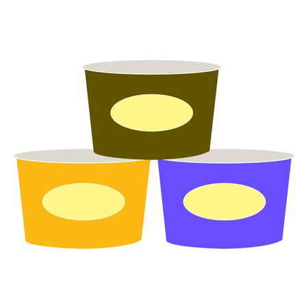 Three simply drawn canned food cans on white