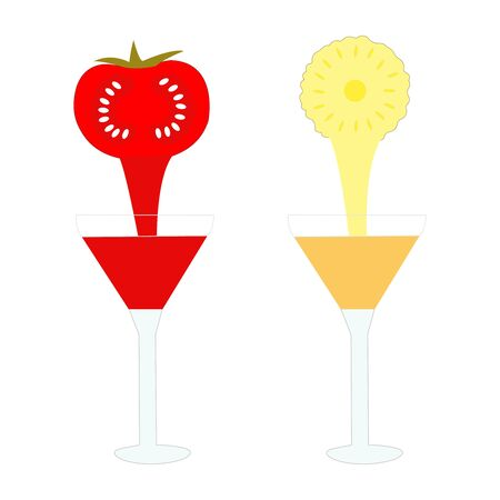 Two well drawn glasses of tomato and lemon juice Çizim