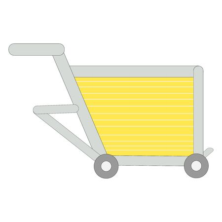 A beautifully drawn light yellow and metal shopping cart