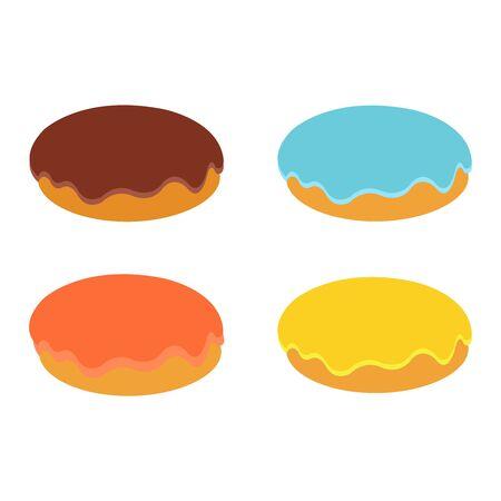 Four delicious plainly drawn pastries on white