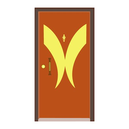 A Well Drawn Golden Patterned Wooden Door With A Golden Cross