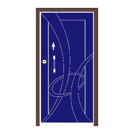 A Dark Blue Wooden Door On White