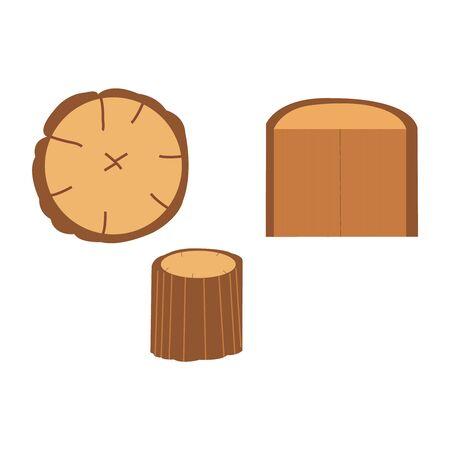 Three wooden logs on white
