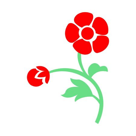 A beautiful drawing of two red flowers on white Illusztráció