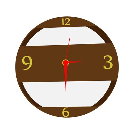 A Wooden Clock On White
