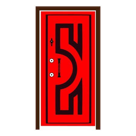 A Wooden Door On White Illusztráció