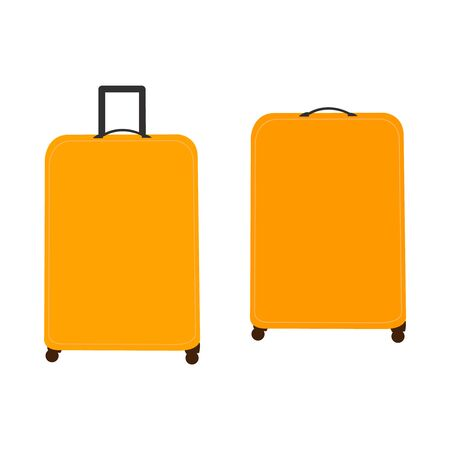 Two orange suitcases on white