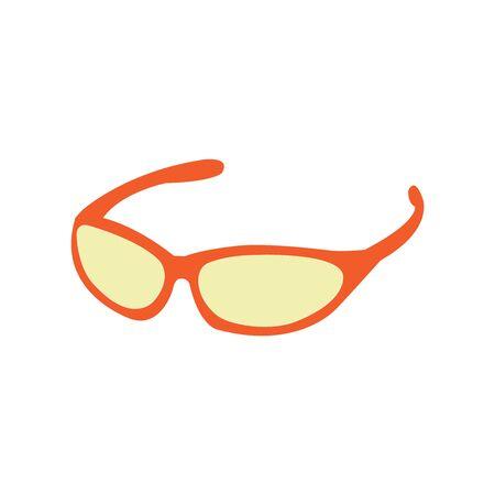 Orange and yellow well drawn biking glasses on white Illusztráció