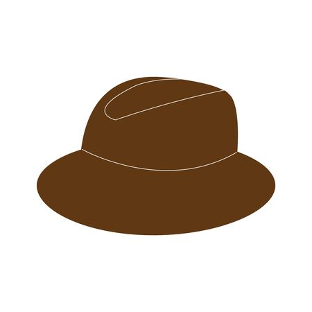 A dark brown hat on a white backdrop