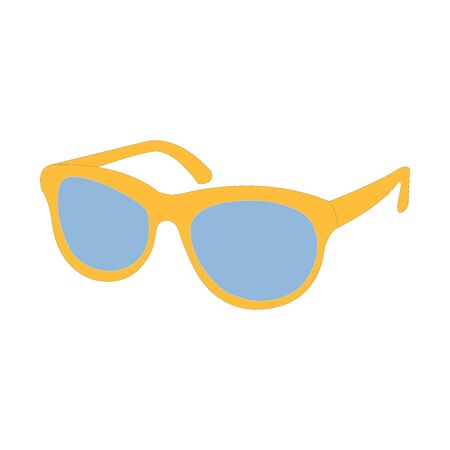 Beautifully drawn yellow and blue sunglasses on white
